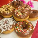Chocolate Frosted Vanilla Cake plain or with Coconut, Sprinkles, Peanuts or Chocolate Chips